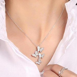 NEW 925 Sterling Silver Diamond Butterfly Necklace